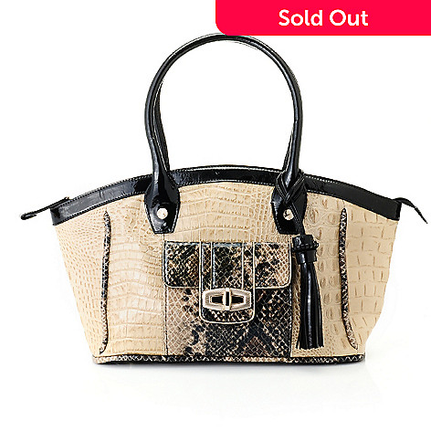 711-865 - Madi Claire Croco & Snake Embossed Leather ''Sandra'' Satchel Handbag