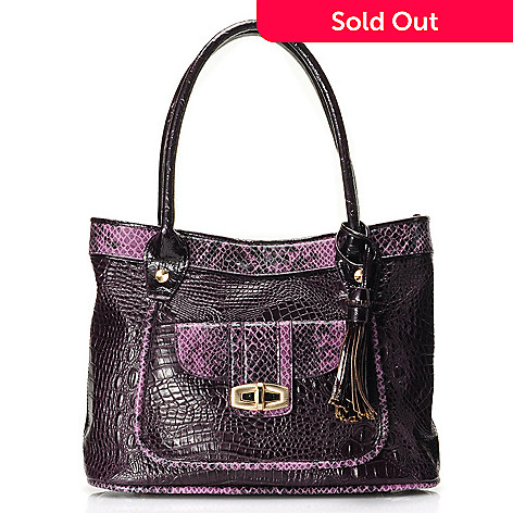711-866 - Madi Claire Croco & Snake Embossed Leather ''Sandra'' Tote Bag