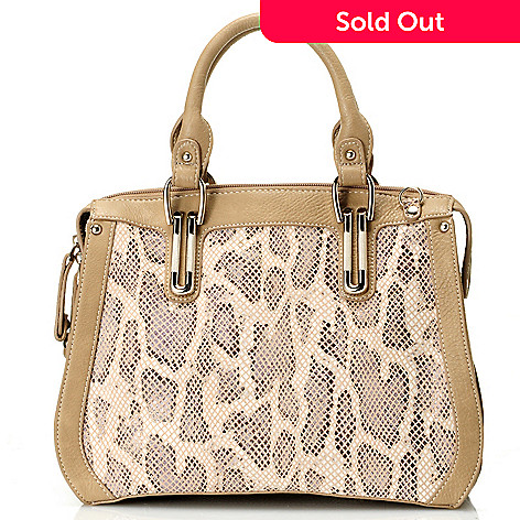 711-868 - Madi Claire Snake Embossed Leather ''Cassandra'' Satchel