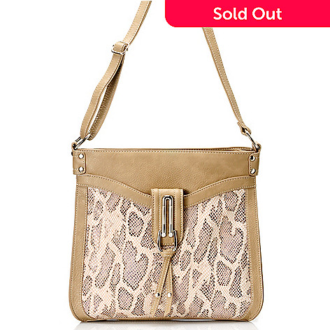 711-869 - Madi Claire Snake Embossed Leather ''Cassandra'' Cross Body Bag