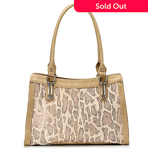 711-870 - Madi Claire Leather ''Cassandra'' Snake Embossed Tote Bag