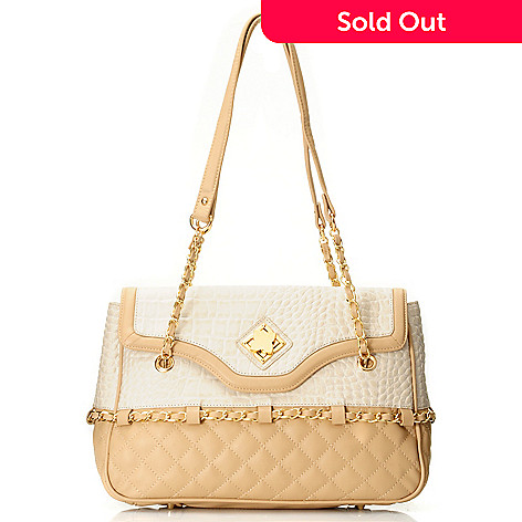 711-871 - Madi Claire Croco Embossed & Quilted Leather ''Misty'' Shoulder Bag