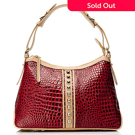 711-873 - Madi Claire Croco Embossed Leather ''Lauren'' Pyramid Studded Hobo Handbag