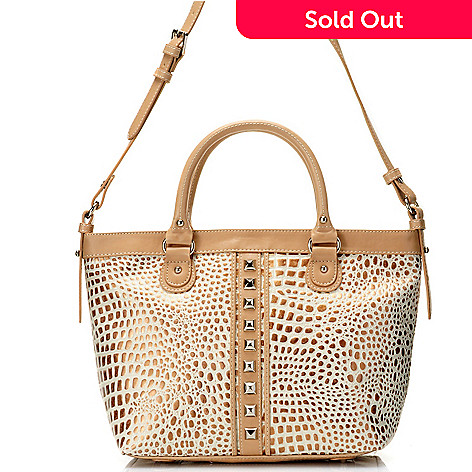 711-874 - Madi Claire Croco Embossed Leather ''Lauren'' Pyramid Studded Tote Bag