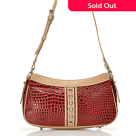 711-875 - Madi Claire Croco Embossed Leather ''Lauren'' Pyramid Studded Shoulder Bag