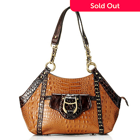 711-876 - Madi Claire Croco Embossed Leather ''Gabby'' Satchel Handbag