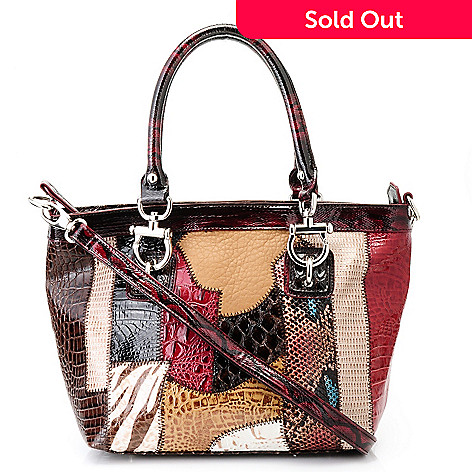 711-880 - Madi Claire Croco Embossed Leather Double Handle Multi Media Satchel
