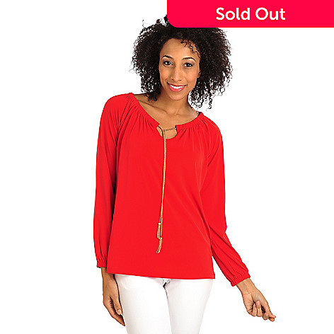 711-886 - Kate & Mallory® Stretch Knit Raglan Sleeved Tassel Tie-Neck Peasant Top