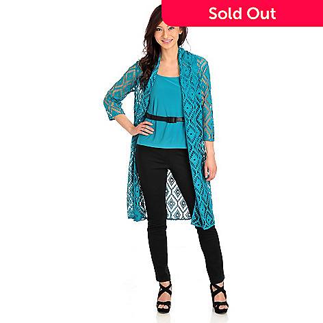 711-920 - Kate & Mallory® Crochet Open Front Duster w/ Stretch Knit Layering Tank Top