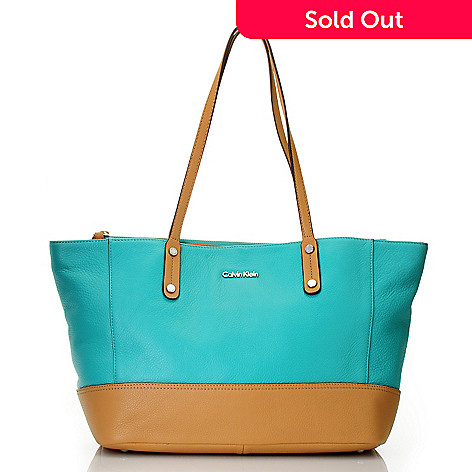711-937 - Calvin Klein Handbags Leather Tote With Clutch