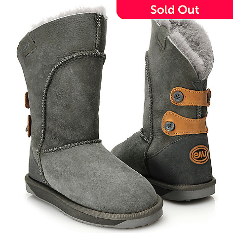711-944 - EMU Sheepskin Button Detailed Mid-Calf Boots
