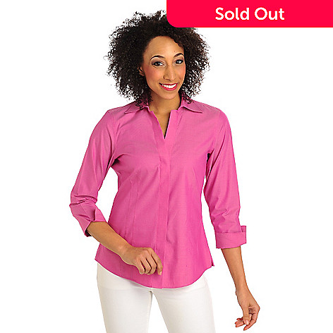 711-960 - Foxcroft Oxford Y-Neck 3/4 Sleeved Covered Placket Non-Iron Shirt