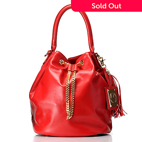 711-969 - Jack French London Leather Tassel & Chain Detailed Drawstring Bucket Bag