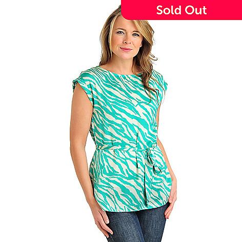 711-984 - aDRESSing WOMAN Charmeuse Cuffed Cap Sleeve Blouse w/ Tie Belt