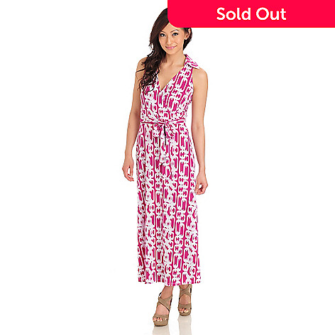 711-985 - aDRESSing WOMAN Stretch Knit Sleeveless Maxi Dress w/ Self-Tie Belt