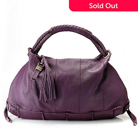 712-011 - Buxton Leather Woven Rope Handle Tasseled Zip Top Hobo Handbag