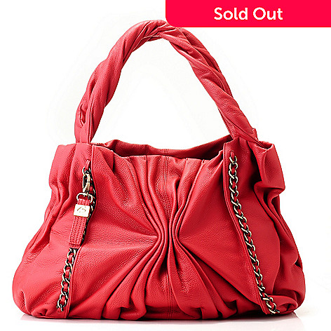 712-012 - Buxton Leather ''Varese'' Chain Detailed Ruched Tote Bag