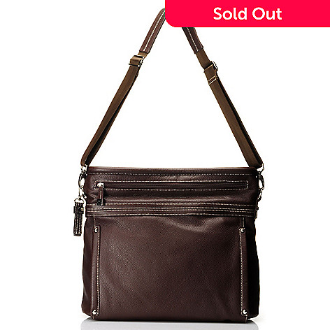 712-014 - Buxton® Leather Zipper Detailed Handle Tote Bag w/ Removable Strap