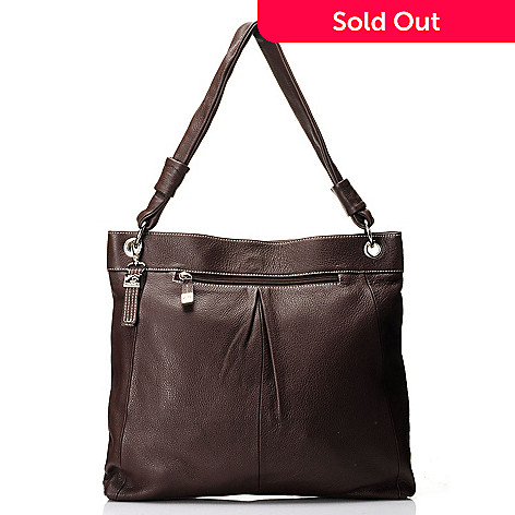 712-016 - Buxton Leather ''Rimini'' Single Handle Pleated Tote Bag
