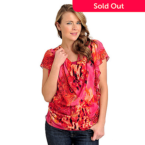 712-021 - One World Print Chiffon Flutter Sleeved Drape Neck Knit Combo Top