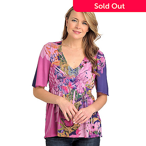712-027 - One World Micro Jersey Elbow Sleeved Butterfly Applique Smocked Empire Top
