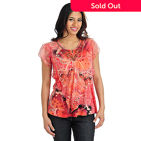 712-028 - One World Knit Chiffon Sleeved Satin Embroidered Notch Neck Top