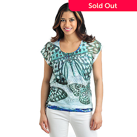 712-029 -  One World Knit Tank Top w/ Short Sleeved Printed Crochet Butterfly Overlay