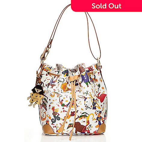 712-077 - Piero Guidi Coated Canvas Magic Circus Collection Bucket Bag
