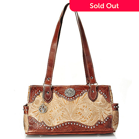 712-083 - American West Hand-Tooled Leather Multi Compartment Tote Bag