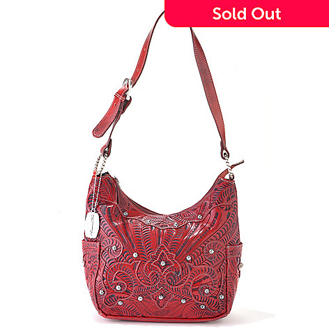 712-086 - American West Hand-Tooled Leather Zip Top Hobo Handbag