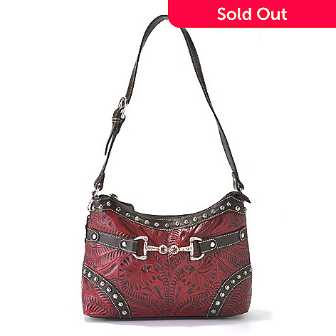 712-088 - American West Hand-Tooled Leather Buckle Detailed Shoulder Bag