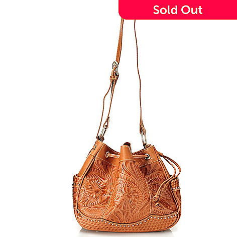712-089 - American West Hand-Tooled Leather Drawstring Shoulder Bag