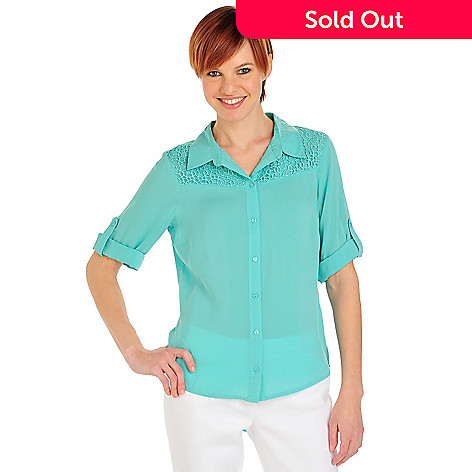 712-095 - One World Challis Roll Tab Sleeve Lace Yoke Button-down Shirt