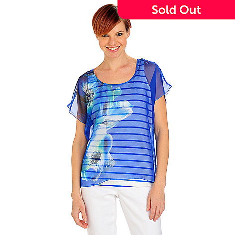 712-099 - One World Printed Chiffon Dolman Sleeved Blouse w/ Striped Knit Tank