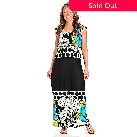 712-105 - One World Matte Jersey Flutter Sleeved Blouson Waist Maxi Dress