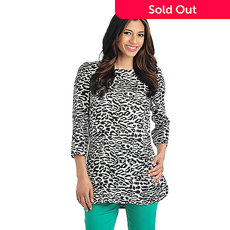 712-125 - WD.NY Print Satin 3/4 Sleeved Exposed Back Zip Tunic Top