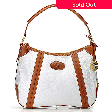 712-133 - PRIX DE DRESSAGE Pebbled Leather Zip Top Hobo Handbag