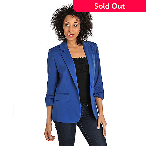 712-141 - Geneology Stretch Ponte Ruched 3/4 Sleeve One-Button Knit Blazer