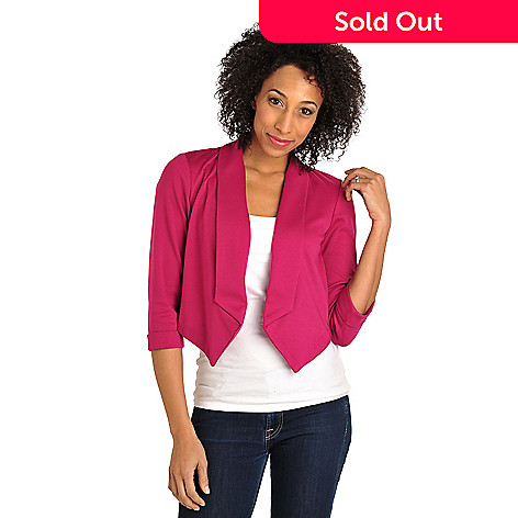 712-145 - Kate & Mallory Stretch Ponte Cuffed Sleeve Open Front Knit Jacket