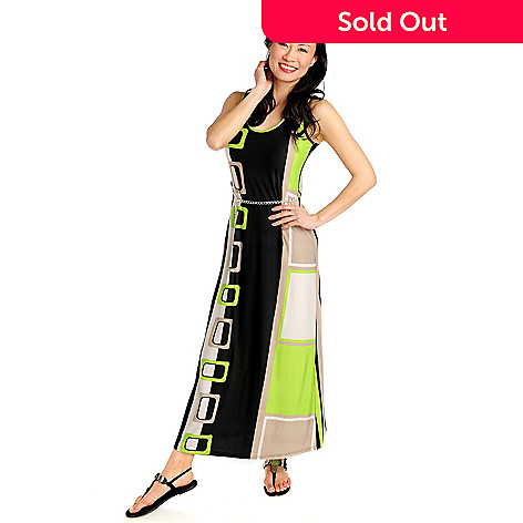 712-328 - aDRESSing WOMAN Stretch Knit Sleeveless Maxi Dress w/ Chain Belt