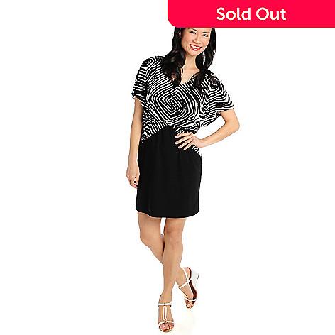 712-329 - aDRESSing WOMAN Stretch Knit Dolman Sleeved V-Neck Blouson Dress