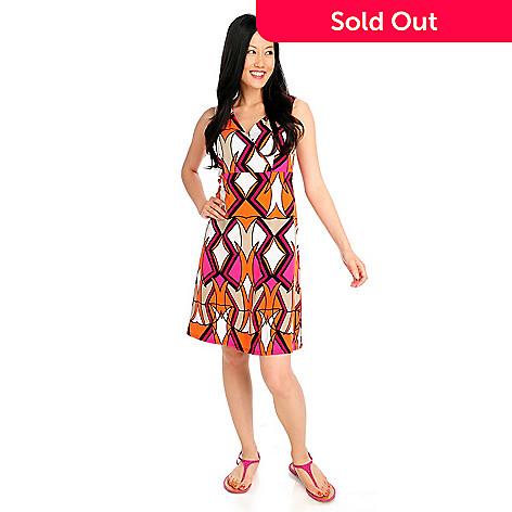 712-331 - aDRESSing WOMAN Stretch Knit Sleeveless Faux Wrap Shift Dress