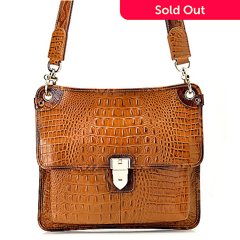 712-339 - Madi Claire ''Kayla'' Crocodile Embossed Leather Cross Body Bag
