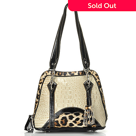 712-341 - Madi Claire Croco Embossed Leather ''Alexandra'' Zip Around Satchel