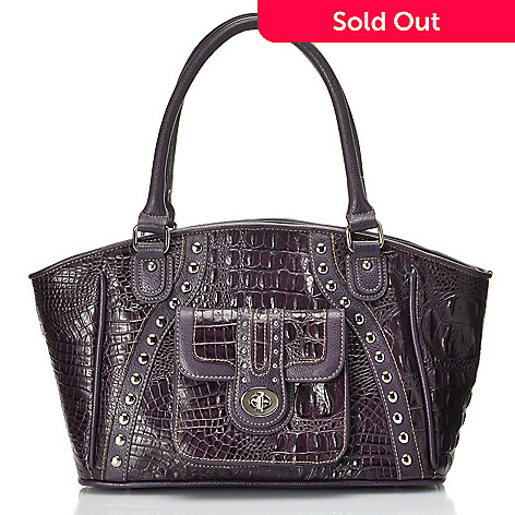 712-344 - Madi Claire Croco Embossed Leather ''Jessica'' Studded Satchel