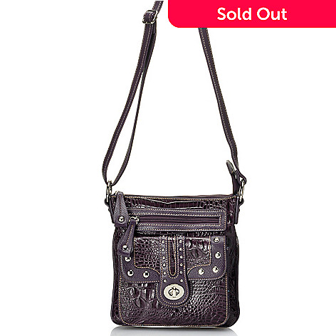 712-345 - Madi Claire Croco Embossed Leather ''Jessica'' Cross Body Bag