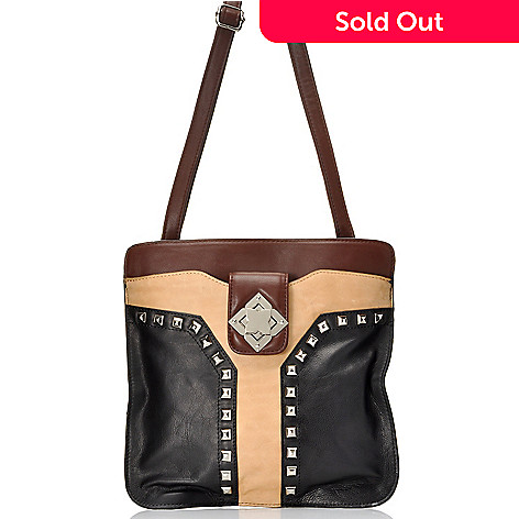 712-349 - Madi Claire Smooth Leather ''Erin'' Studded Cross Body Bag