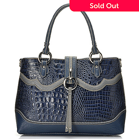 712-352 - Madi Claire Croco Embossed Leather ''Ann'' Satchel w/ Cross Body Strap
