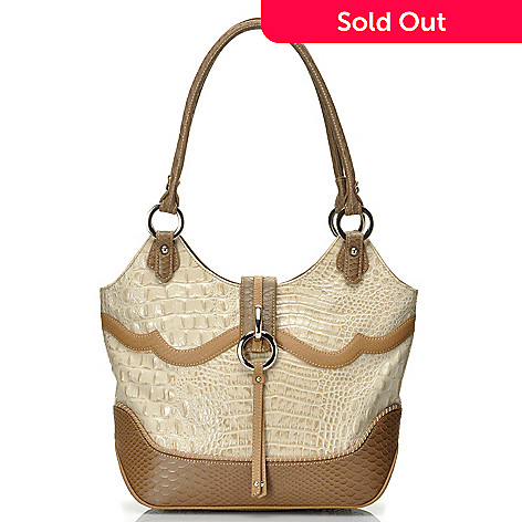 712-354 - Madi Claire Croco Embossed Leather ''Ann'' Zip Top Shoulder Bag