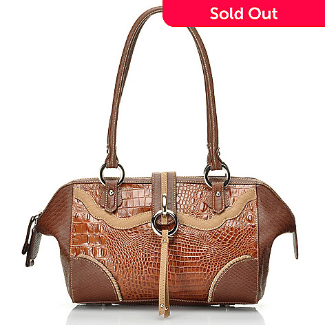 712-355 - Madi Claire Croco Embossed Leather ''Ann'' Zip Top Shoulder Bag